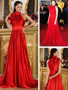 Red Elastic Silk Like Satin Round Neck A-line Emma Stone Oscar Dress. You cant go wrong with vintage-inspired dresses. They have a certain charm and elegance that modern styles cant duplicate. This one features a gorgeous halter-style bodice and a stunning neck sash that ties into a.. . See More Oscar Dresses at http://www.ourgreatshop.com/Oscar-Dresses-C905.aspx