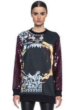 Givenchy Fall 2013 RTW Sequin-Sleeved Asymmetric Pattern Sweatshirt