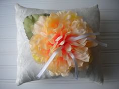 Peach Peony Ring Bearer Pillow with Vintage Lace by DaniCalve, $25.00