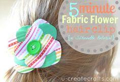 DIY Fabric Flowers : DIY 5 Minute Fabric Flower Hair Clip