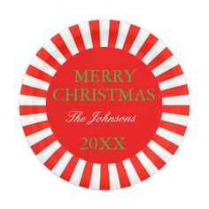 Personalized Merry Christmas paper plate  sc 1 st  Pinterest & Christmas Candy Cane Polka Dot Patterned Red Paper Plate   Christmas ...