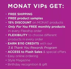 What are you waiting for? ask me about becoming a VIP today! #monathair #vipperks #monatvip #healthyshinyhair