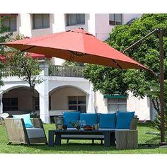 Abba Patio Octagon Cantilever Vented Tilt And Crank Lift Patio Umbrella  With Cross Base