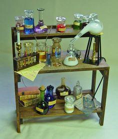 Dolls House Miniature Apothecary Satan Seat Fungi Bottle And Label Dolls & Bears