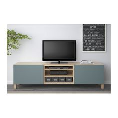 BESTÅ TV bench with drawers - white stained oak effect/Valviken grey-turquoise, drawer runner, soft-closing - IKEA