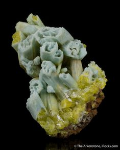Plumbogummite ps. Pyromorphite, Yangshuo Mine, Yangshuo Co., Guilin, Guangxi Zhuang, China, small-cabinet, 6.8 x 4.3 x 3.5 cm, Several large, skeletal plumbogummite after pyromorphite crystals are clustered on a couple of fragments of ocherous limonite from the now famous Yangshuo mine in China - a small mine now noted for these fantastic pseudomorphs., For sale from The Arkenstone, www.iRocks.com. For more details on this piece and others, visit…