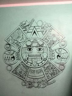 Yeah, i draw it in the wall of my room, it´s the center of the aztec calendar the god named Tonatiuh, the sun god Aztec Calendar Aztec Tattoo Designs, Name Tattoo Designs, Tattoo Design Drawings, Aztec Tattoos Sleeve, Mayan Tattoos, Polynesian Tattoos, Familie Symbol, Mexico Tattoo, Aztec Drawing