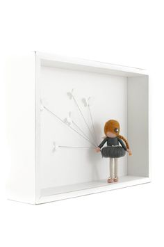 Dorimu fairy dolls in 3D frames bring inspiration, warmth and magic into your home. The 3D wall art consists of a deep wooden frame with a vintage shabby chic finish, 3D paper butterflies and a needle felted fairy (approx. 3