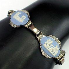 Beautiful Vintage Wedgwood Blue Jasperware Bracelet