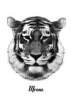 TIGER SAYS MEOW Art Print/RK DEsign Society 6