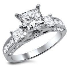 Noori 14k Gold 1 3/ ct TDW Certified Enhanced Princess-cut Diamond Engagement Ring