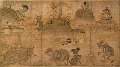 """Unknown Artist, detail from the Hungry Ghosts Scroll, late 12th century. The """"Hungry Ghosts Scroll"""" is located at the Tokyo National Museum."""