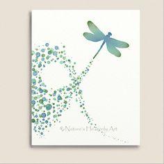 Turquoise Wall Decor Dragonfly Art Print 8 x by NaturesHeavenlyArt, $14.00