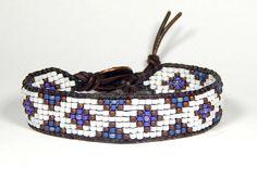 Bead Loom Bracelet Leather Wrap Bracelet Blue Purple Mini