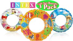 Intex Ocean Reef Transparent Swim Rings Fish, Mermaid & Beach Gift Set Bundle - 3 Pack. Gift Set Bundle Includes 3 Different Transparent Swim Rings!. Includes Fish, Mermaid & Beach Graphics. Each ring measures 24. Made of durable polyurethane material. For ages 6 and up.
