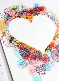 alisaburke: stamped and stenciled hearts