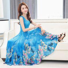 2017 여름 여성의 새로운면 민소매 V 넥 쉬폰 드레스 인쇄 드레스 리조트 해변 드레스 슬링 야옹