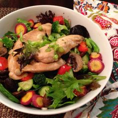 Teriyaki Chicken Salad! #recipe #ontheblog (the #homemade Teriyaki sauce is #glutenfree #dairyfree and we substituted liquid aminos for the GF soy sauce) #organic #veggies #homecooking