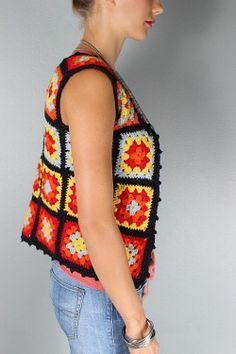 70s style granny square vest/waistcoat