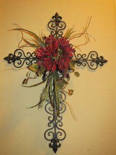 Old world cross floral wall arrangement on Etsy, $89.00