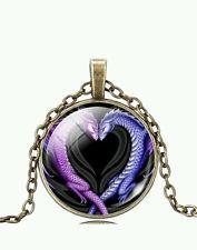 Unique Jewelry - Vintage Dragon Love Cabochon Tibetan Bronze Glass Chain Pendant Necklace NEW