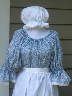 Ladies Early American Colonial Pioneer Dress shawl mob cap apron Costume. $69.99, via Etsy.