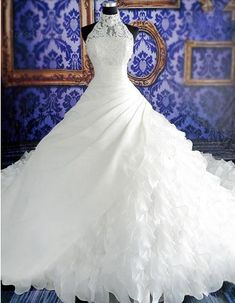 Custom-made !Charming Ball Gown High Neck Sleeveless Pearl Chapel Train Appliques Floor-Length Organza Wedding Dresses