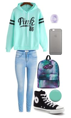 """""""Casual School Day #17"""" by xxmonnyxx ❤ liked on Polyvore featuring Converse, Vans, Native Union, Jin Soon and Eos"""