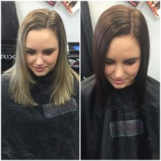 @leah_diguglielmo before and after her appointment | Leah wanted a change and decided to swap the blonde highlights for this gorgeous chestnut brown - she is one of those lucky people that looks great either way  I love this colour and cut on her and I think it's perfect for the cooler weather ahead //  #hair #hairsalon #hairdresser #transformation #beforehand after #blonde #brunett