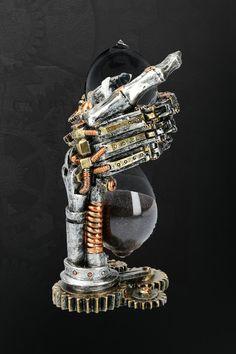 Clockwork Drachen Anhänger Handbemalt Metall Steampunk Gänge Roboter Halskette
