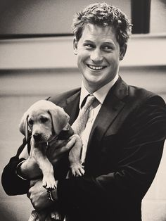 prince harry and a puppy.....can't get any cuter