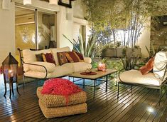 Under a pergola and upon wooden deck with couches put together a iron and waterproof fabric pillows and two coffee tables not polished granite Granite Coffee Table, Coffee Tables, Garden Furniture, Outdoor Furniture Sets, Outdoor Sofa, Outdoor Decor, Shade Canopy, Diy Pergola, Pergola Ideas