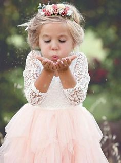 A-Line Scoop Tea-Length 3/4 Sleeves Pink Flower Girl Dresses with Lace Ruffles, TYP1027 Pink Flower Girl Dresses, Girls Dresses, Flower Girl Dresses Country, Girls Lace Dress, Lace Flower Girls, Dress Girl, Flower Girl Hairstyles, Wedding Hairstyles, Wedding With Kids