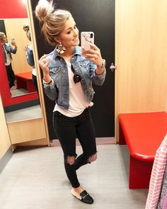 I mirror selfie at home and target is pretty much my home too soo i am legit obsessed with these earrings like might sleep in them black denim buttons fluffy white collar outwear jean jacket Cute Fall Outfits, Fall Winter Outfits, Autumn Winter Fashion, Spring Outfits, Stylish Outfits, Mode Outfits, Fashion Outfits, Fashion Ideas, Fashion Tips
