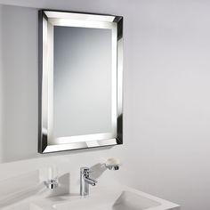 Large bathroom mirror and light