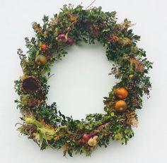 Homemade autumn wreath for the birds.