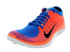 988ac5c9e47b Nike Women s Free Flyknit 4.0 - Photo Blue   Black-Bright Mango-White