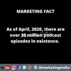 As per Podcast Insights of iTunes,  30 million podcasts are episodes are existing online.  This data has been taken in April 2020.  #marketingenthu #marketingenthufacts #podcast #podcaster #insights #itunes #streaming #audiostreaming #audiocontent #audiopodcast #userstatistics #upload #facts #statistics #onlineplatform #socialmedia #digitalchannel #podcasts #podcasting #audios Statistics, Itunes, Insight, Acting, Facts, Social Media, Content, Marketing, Youtube