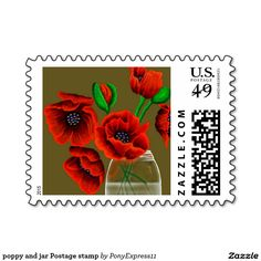 poppy and jar Postage stamp