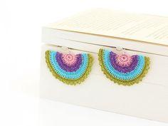 Crocheted Dangle Earrings Green Aqua Blue Purple by PinaraDesign, $11.00