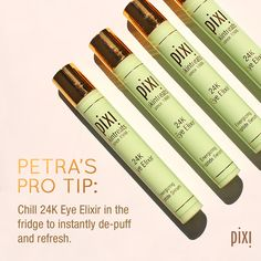 Awaken eyes with our travel-friendly essential, 24K Eye Elixir. This energizing peptide serum massages away puffiness as it smooths and refreshes the eye area. #Skintreats #PixiBeauty #PixiByPetra