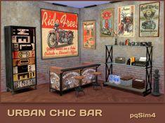 Urban Chic Bar by Mary Jiménez at via Sims 4 Updates The Sims, Sims Cc, Free Sims 4, Sims 4 Pets, Pelo Sims, Sims Games, Sims 4 Cc Furniture, Sims 4 Update, Sims Mods