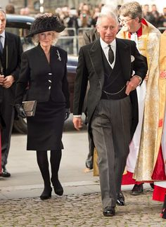 Camilla, Duchess of Cornwall and Prince Charles, Prince of Wales attend a service of thanksgiving for Lady Soames at Westminster Abbey on in London, England. Royal Prince, Prince Of Wales, Elizabeth Ii, Morning Coat, Camilla Duchess Of Cornwall, Royal Uk, Camilla Parker Bowles, Herzog, Windsor