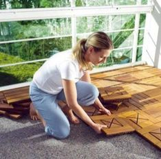 Eco Woods: If you've got an outdoor patio or a bathroom floor that needs to be covered, these water-resistant wood tiles snap together and c...