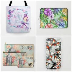 NEW designs #enchantedocean #tropisch #vintage #butterflies in lots of different products #totebag #laptopsleeve #carryallpouch #cases Check detail at society6.com/julianarw