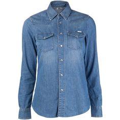 MOTHER 'Killer Cowboy Charm' shirt ($220) ❤ liked on Polyvore featuring tops, shirts, blouses, blue collar shirt, cowboy shirts, western shirt, snap button shirts and long sleeve tops
