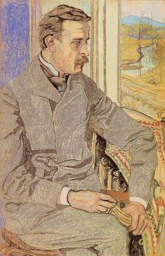 """Stanisław Wyspiański (Polish 1869–1907) """"Portrait of Julian Pagaczewski"""", 1904, pastel, 62 x 33.5 cm, National Museum, Warsaw."""
