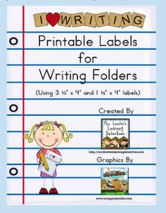 Excellent idea for writer's workshop folders with free writing labels included.  See the idea in the readers' response area about putting the inner folder in right side out.