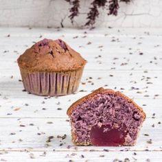 Delicious lavender muffins with Turkish delight hidden inside