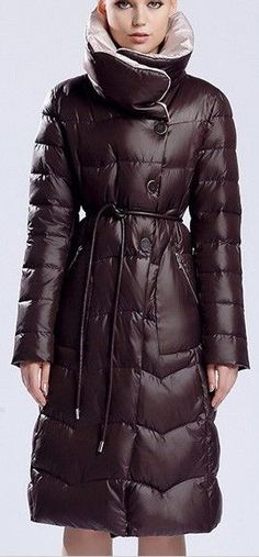 High-Collar Thick Hooded Puffer Down Coat in Brown